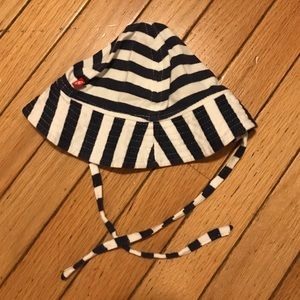 Navy and white striped sun hat